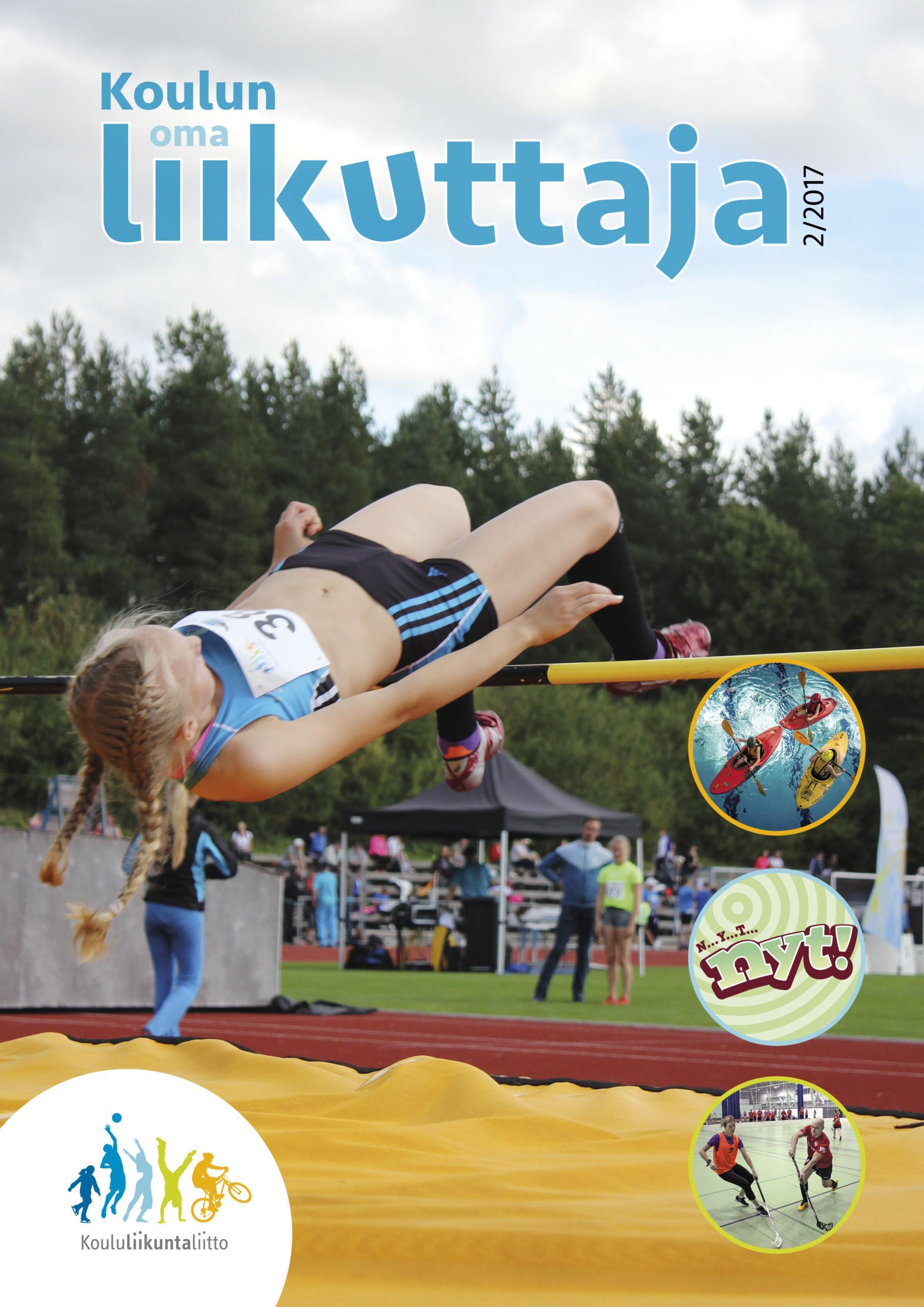 Koulun oma liikuttaja 2-2017 kansi, jossa tyttö hyppää korkautta ja on juuri ylittänyt riman.