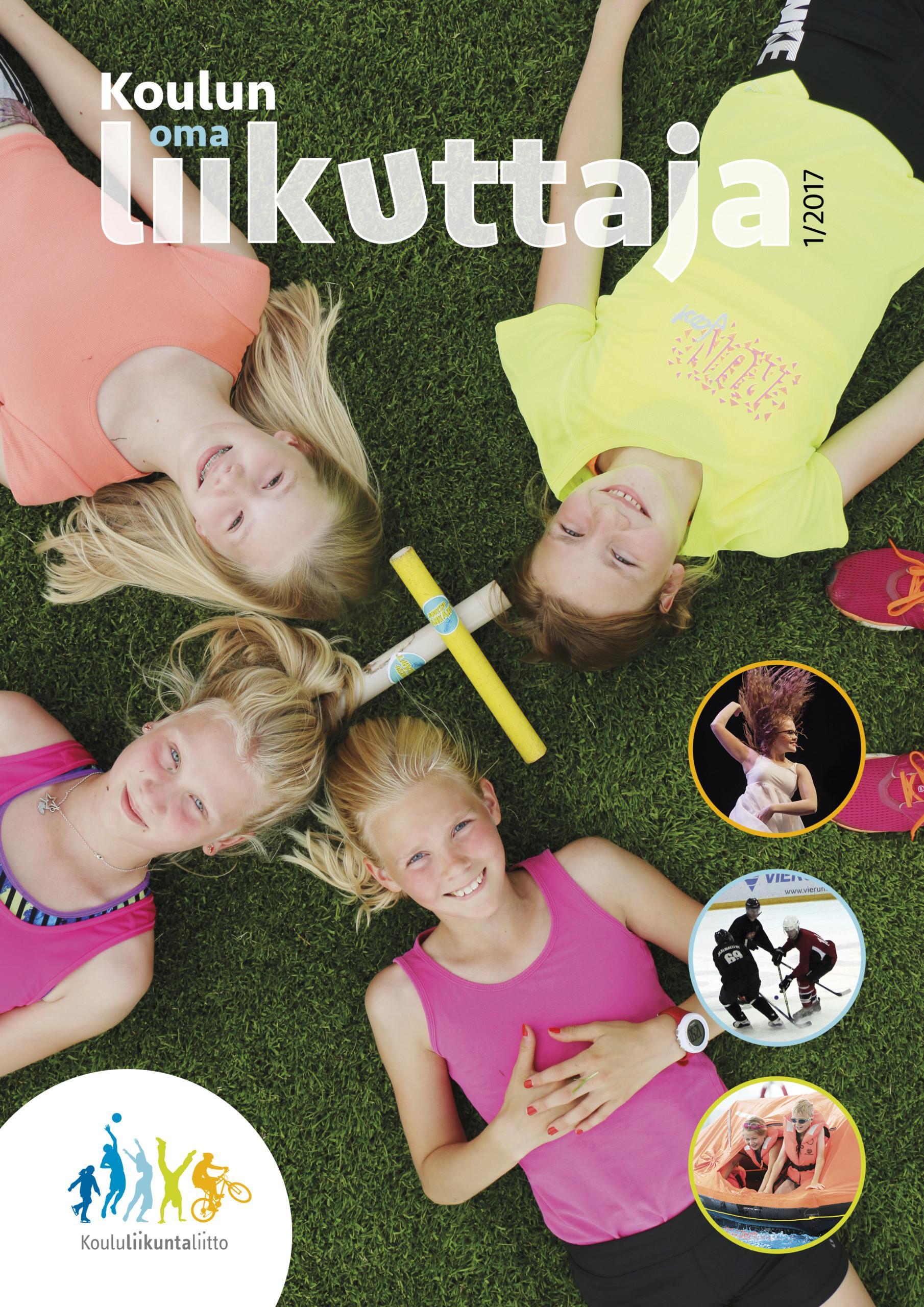 Koulun oma liikuttaja 1-2017 kansi, jossa neljä tyttöä makaa nurmikolla selällään ja katsoo ylös.