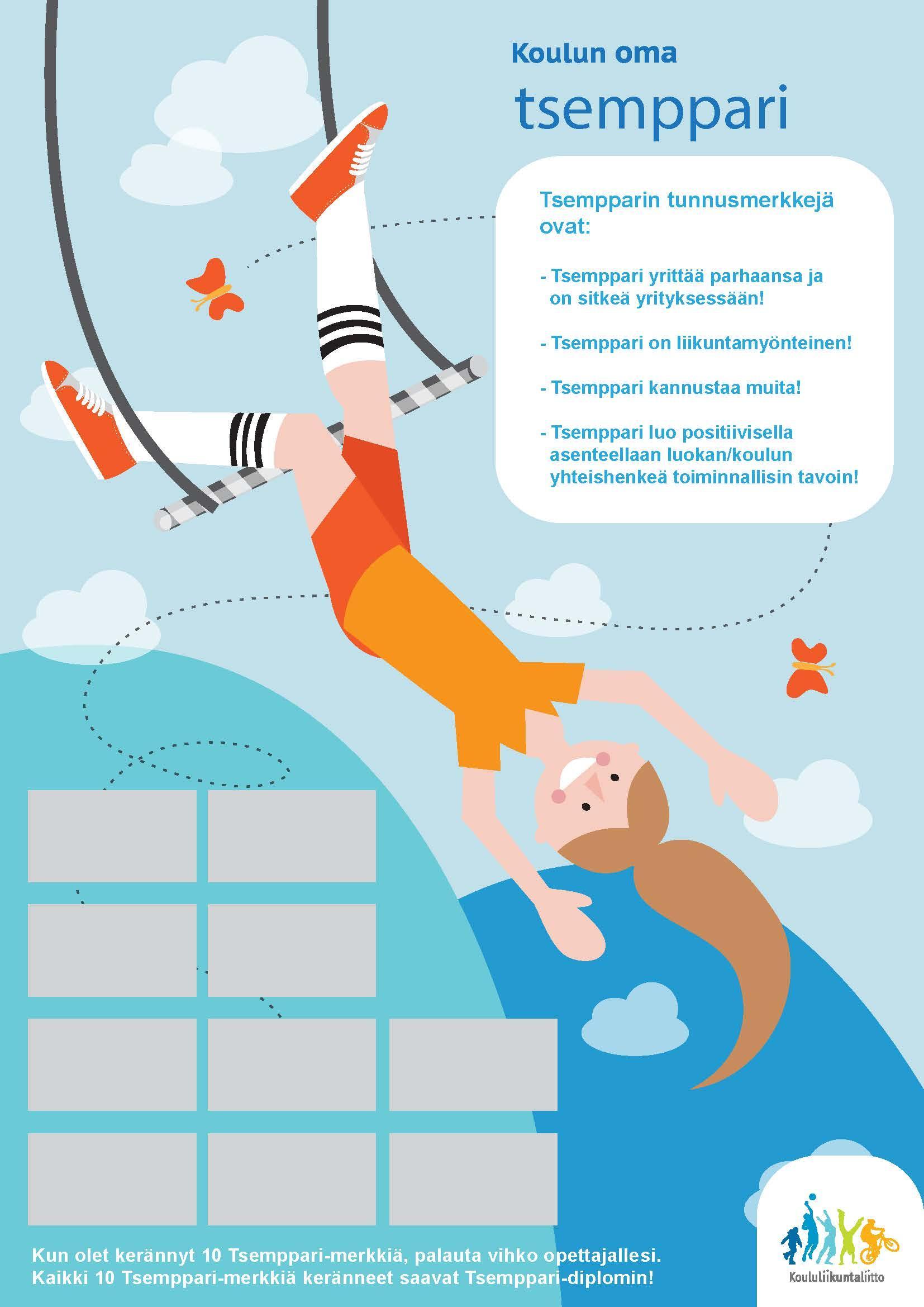 Tsemmpari merkkiarkki, jossa piirretty tyttö roikkuu jaloistaa trapetsikiikussa.